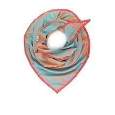 Soft woven scarf in orange and light blue rose garden design with elegant trim
