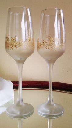 Set Of 2 Hand Painted Champagne Flutes Lace By PaintedGlassBiliana 3000