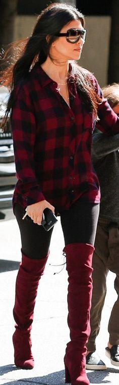 Kourtney Kardashian: Shirt – Rails  Key Chain – Hermes  Sunglasses – Celine  Shoes – Stuart Weitzman