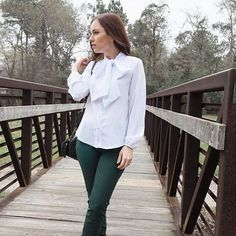A pretty bow blouse can brighten up a cold and dreary day in Texas.  ☔️(shop in profile) #winterinthesouth #myeostyle  #Regram via @shopeverlyoak