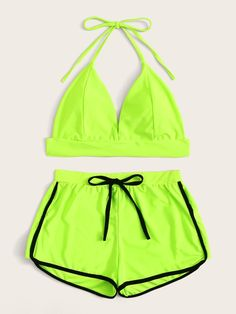 Ad: Neon Lime Halter Top With Shorts 2 Piece Swimsuit. Tags: Halter Top V neck Triangle Nylon Shorts Sporty Sets Plain Green Bright Nylon Spandex Yescan be removed Fabric is very stretchy Yes One Piece Swimsuit With Shorts, Cute One Piece Swimsuits, Swimsuits For Teens, Bathing Suit Shorts, Girls Bathing Suits, Girls Fashion Clothes, Teen Fashion Outfits, Ropa Color Neon, Neon Shorts