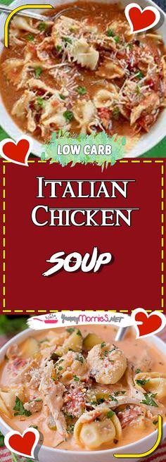 Italian Chicken Soup Via #yummymommiesnet #chickenrecipes chicken recipes #chickendinner chicken dinner recipes #easyrecipes easy recipes #recipeoftheday recipe of the day #chickensalad chicken salad recipe #chickencasserole chicken casserole recipes