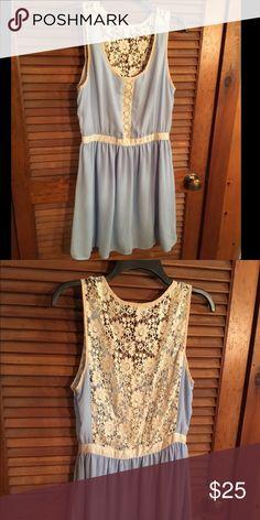 Pale blue lace dress Pale blue lace back dress Dresses Mini
