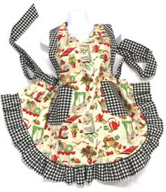Gram's Inspirations - Unique handmade aprons inspired by grandma named for Aunt Sylvia Flirty Aprons, Cute Aprons, Retro Apron, Aprons Vintage, Homemade Aprons, Apron Tutorial, Childrens Aprons, Gardening Apron, Chef Apron
