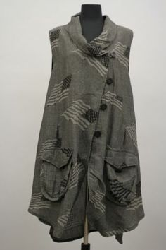 Transparente Designs Germany Lagenlook Artsy Linen Pocket Vest US Flag $420   eBay