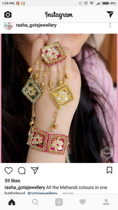 Fancy Gota Jewellery Designs to add Bling & Edge to your Look This haath phool design is ideal for all the colourful brides! Bracelets Design, Jewelry Design Earrings, Hand Jewelry, Fabric Jewelry, Yoga Jewelry, Glass Jewelry, Indian Wedding Jewelry, Bridal Jewelry, Bridal Accessories