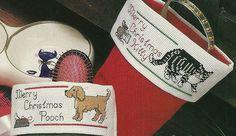 Dog Cat Pets Christmas Stocking Cuffs Cross Stitch Patterns from a magazine #crossstitchpatternfrommagazine #Stockingcuffs