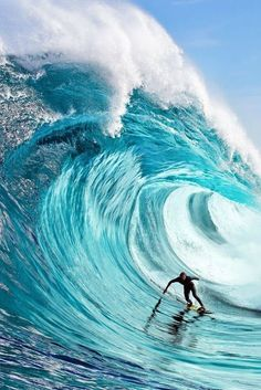 """Big wave surfing is a discipline within surfing where experienced surfers paddle into or are towed onto waves which are at least 20 feet m) high, on browse boards referred to as """"guns"""" or towboards. Sizes of the board had to effectively surf these. Big Waves, Ocean Waves, Water Waves, Wind Surf, Big Wave Surfing, Surf Wave, Surfing Pictures, Surf Style, Surfs Up"""
