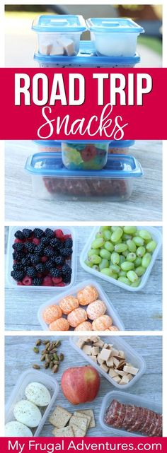 Simple, healthy (ish) and fun road trip snack ideas.  Pack your own food to save time and money on your next trip.