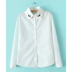Sweet Style Polo Collar Eyelash Embroidery Long Sleeve Shirt For Women