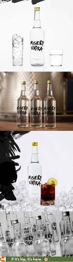 Nie wiem jak dla Was, ale jak dla mnie straszny kicz - Misery Vodka bottle design by Studio Total of Sweden. Bottle Packaging, Brand Packaging, Packaging Design, Liquor Drinks, Beverage, Organic Vodka, Premium Vodka, Bottle Design, Bottle Art