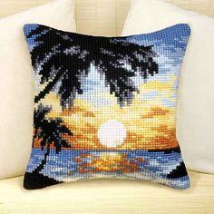 Sunset in Paradise Cushion Front Chunky Cross Stitch Kit | sewandso