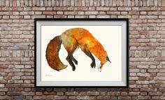 Fox grande taille originale peinture - renard saut-forêt fox la faune animale décoration - art de vie mur - Original aquarelle peinture-Juan Bosco par JuanBosco sur Etsy https://www.etsy.com/fr/listing/236703335/fox-grande-taille-originale-peinture