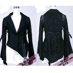 Women Black Lace Two Button Goth Emo Fashion Suit Jacket Clothing SKU-11401062