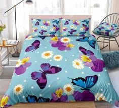 Blue And Purple Butterflies Bedding Set Butterfly Bedding Set, Bed In A Bag, Purple Butterfly, Cotton Duvet, Gifts For Teens, Clean Design, Beautiful Patterns, Duvet Cover Sets, Bedding Sets