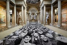 An Old Church Covered In Thousands Of Quirky Monochrome Portraits - DesignTAXI.com