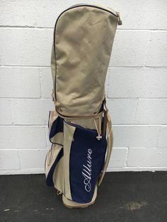 ALLURE GOLF CART GOLF BAG~7 WAY DIVIDER~NAVY/TAN EXCELLENT CONDITION~RAIN COVER #ALLURE #Modern