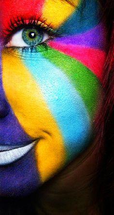 colours on a face /színek Taste The Rainbow, Over The Rainbow, Rainbow Face, Rainbow Stuff, World Of Color, Color Of Life, Color Splash, Color Pop, Colour Colour