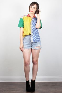 Vintage 80s Red Green Blue Yellow Rainbow Mixed Print Floral Bandana Blouse 1980s Color Block Button Down Shirt Collared Shirt M Medium by ShopTwitchVintage #vintage #etsy #80s #1980s #shirt #blouse #bandana #rainbow #colorblock