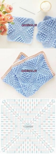 Puff stitch blanket square