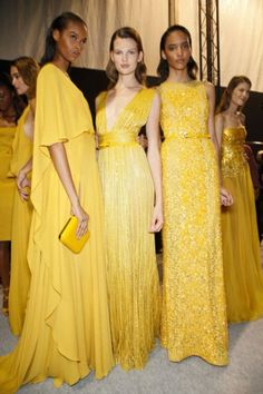 Models in yellow dresses
