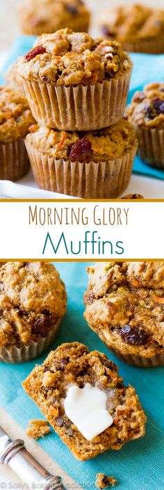 These hearty and simple morning glory muffins taste like spiced apple cake and moist carrot cake… combined… for breakfast! Recipe on sallysbakingaddiction.com