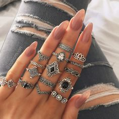 Buy Bohemia Flowers Crystal Crown Finger Ring Set 925 Sterling Silver Joint Knuckle Rings Women Jewelry Accessories Gifts at Wish - Shopping Made Fun Boho Jewelry, Jewelry Gifts, Jewelry Accessories, Women Jewelry, Fashion Jewelry, Jewelry Shop, Fine Jewelry, Fashion Rings, Jewelry Stores