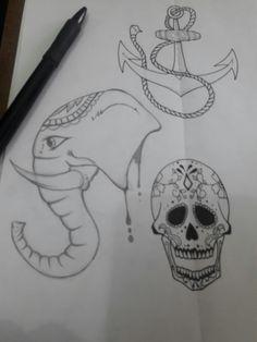 Flash tattoo #sugarskull #tattoo #flashtattoo #elephant #draw #drawing