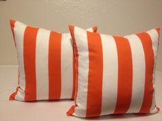 pair of Decorative Throw Pillow Cover 20x20 - Designer Fabric - ORANGE Mandarin  / WHITE indoor /outdoor pillow. $36.00, via Etsy.