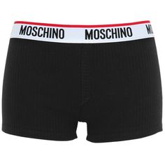 Moschino Underwear Women Ribbed Cotton Shorts ($58) ❤ liked on Polyvore featuring intimates, panties, shorts, bottoms, underwear, lingerie, moschino, black and underwear lingerie