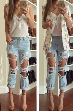 Reverse Destroyed Pants Boyfriend Jeans - Denim