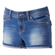 Juniors' Hydraulic Faded Back-Flap Denim Shortie Shorts, Girl's, Size: