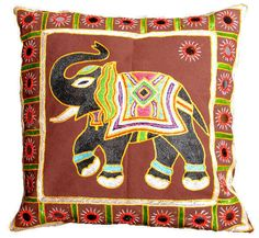 Elephant printed brown sofa cushion cover for living area..  Project ID - CC8013
