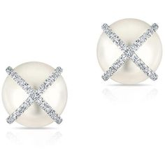 Anne Sisteron 14KT White Gold Diamond X Pearl Stud Earrings ($550) ❤ liked on Polyvore featuring jewelry, earrings, pearl jewelry, diamond jewellery, diamond earrings, pearl jewellery and pearl diamond earrings