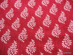Indian Block Print Pure Dobby Cotton Magenta and White Fabric Sold by Yard