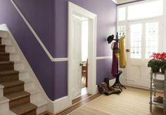 a purple hallway with white and wood stairs