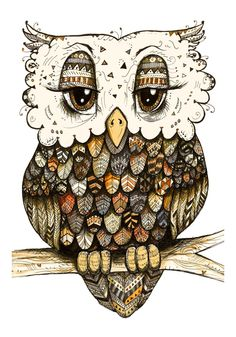Tribal Owl in Orange Print of a Pen and Watercolor by taramcauley, $10.00