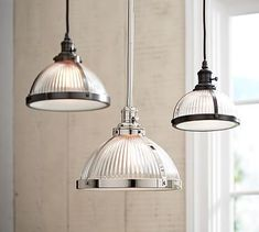 2 small ones @$93 ea...maybe use 2 and have Gray Wolf put them together? PB Classic Pendant - Ribbed Glass #potterybarn