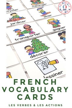 It's easy to teach and review French verbs and actions vocabulary using this set of word wall cards! With cards in both colour and black