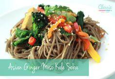 Asian Ginger Miso Kale Soba   CherrieTam.com Easy Recipes, Easy Meals, Japchae, Kale, Spaghetti, Asian, Simple, Ethnic Recipes, Food