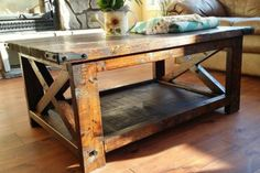 "43"" Rustic X Coffee Table 