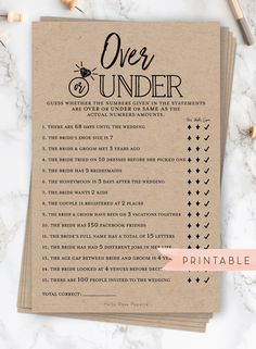 Over or Beneath Printable Sport . Bachelorette Hens Get together . Instantaneous Obtain . Rustic Kraft + Black and White – Wedding Bridal Shower Planning, Bridal Shower Party, Bridal Shower Rustic, Wedding Planning, Fun Bridal Shower Games, Bridal Games, Bridal Shower Checklist, Simple Bridal Shower, Bridal Shower Dresses