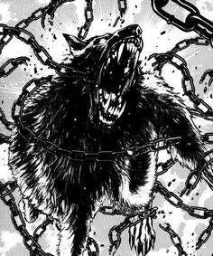 The Binding of Wolf Fenrir revolves around the prophecy of Ragnarok, Fenrir the Wolf, Tyr God of Justice and Honor, and the Norse Pantheon in general. Fenrir Tattoo, Norse Tattoo, Fantasy Wolf, Dark Fantasy Art, Tier Wolf, Wolf Artwork, Werewolf Art, Wolf Tattoo Design, Scary Art