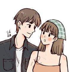 Cute Couple Drawings, Cute Couple Cartoon, Cute Little Drawings, Cute Couple Art, Cute Love Cartoons, Girl Cartoon, Cute Drawings, Cute Art Styles, Cartoon Art Styles