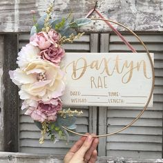 Round name sign round wood sign circle name sign round Hospital Door Wreaths, Hospital Door Hangers, Baby Door Hangers, Baby Girl Nursery Decor, Nursery Signs, Baby Name Signs, Baby Names, Hospital Signs, Birth Announcement Sign