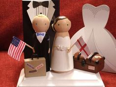 Travel Theme Wedding Cake Topper with Flags, Base, trunk, suitcase Vintage