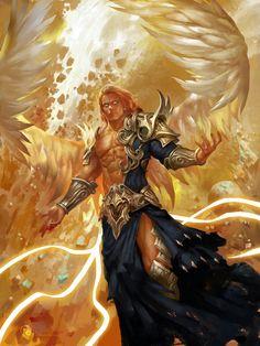 Icarus Angel of Light Dark Fantasy Art, Fantasy Artwork, Fantasy Art Angels, Fantasy Kunst, Fantasy Male, Fantasy Warrior, Male Angels, Angels And Demons, Fantasy Character Design
