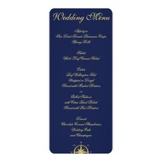 e348c1df8871 Nautical Wedding Reception Blue Nautical Wedding Menu Custom Invitations  Navy Wedding Invitations