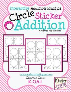 Circle Sticker Addition - Interactive Addition Practice for Kindergarten students.