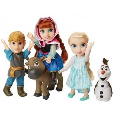 Disney Frozen Deluxe Petite Doll Gift Set - Includes Anna, Elsa, Kristoff, Sven and Olaf! Dolls are approximately 6 inches tall - Perfect for any Frozen fan! Elsa And Anna Dolls, Elsa Anna, Frozen Dolls, Frozen Merchandise, Toddler Dolls, Baby Dolls, Disney Frozen Elsa, Disney Dolls, Christmas Gifts For Kids